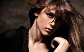 Brunettes women models green eyes earrings glamour faces earings wallpaper