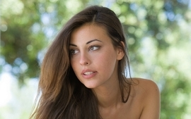 Brunettes women models green eyes lorena garcia faces wallpaper