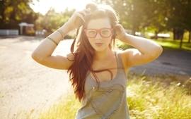 Brunettes women outdoors california sunlight girls with glasses wallpaper