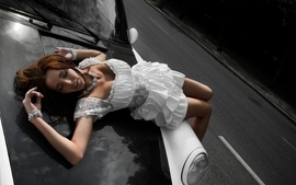 Brunettes women porsche cars carbon fiber white dress girls with wallpaper