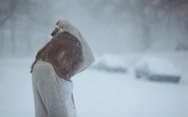 Brunettes women snow photography wallpaper