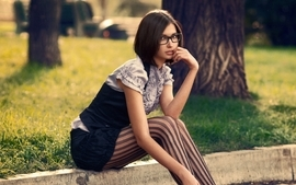 Brunettes women stockings photography models glasses girls with wallpaper