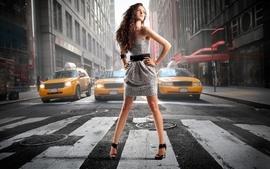 Brunettes women streets taxi crosswalks wallpaper