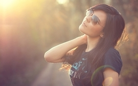 Brunettes women summer sunglasses shirts portraits upscaled wallpaper