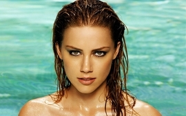 Brunettes women water actress models wet amber heard swimming wallpaper