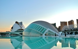 Buildings spain swimming pools valencia curvilinear windowed wallpaper