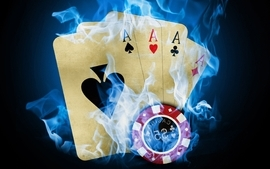 Cards flames blue fire poker ace chip token wallpaper