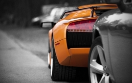 Cars lamborghini selective coloring orange cars wallpaper