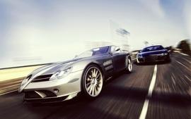 Cars mercedes benz slr audi r8 wallpaper