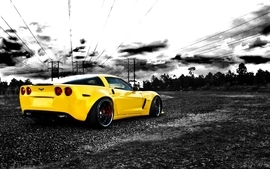 Cars photography vehicles chevrolet corvette selective coloring wallpaper
