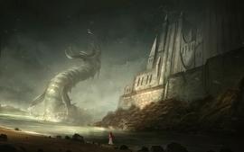Castles dragons fantasy art wallpaper
