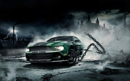Castles night cars ford mustang chains lightning wallpaper