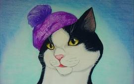Cats artwork hats wallpaper