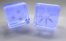 Cgi snowflakes cubes 3d wallpaper