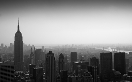 City grayscale panorama wallpaper