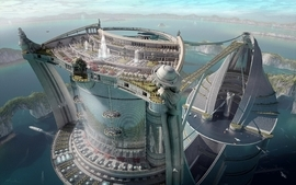 City white futuristic architecture future airports science wallpaper