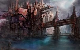 Cityscapes futuristic artwork wallpaper