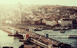 Cityscapes istanbul ok galata bridge wallpaper