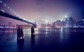 Cityscapes lights buildings brooklyn bridge new york city wallpaper