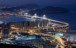 Cityscapes night bridges korea nightlights suspension bridge wallpaper