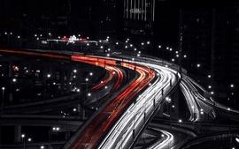 Cityscapes night bridges traffic traffic lights shanghai long wallpaper