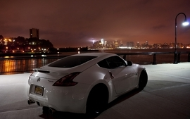 Cityscapes night cars nissan vehicles nissan 370z white cars wallpaper