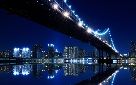 Cityscapes night lights bridges scenic skyscapes wallpaper