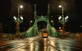 Cityscapes night lights yellow bridges hungary budapest artwork wallpaper