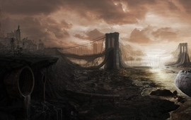 Cityscapes postapocalyptic brooklyn bridge apocalypse artwork wallpaper