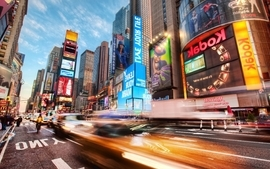 Cityscapes streets cars new york city times square advertisement wallpaper