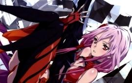Cleavage pink hair red eyes anime girls guilty crown yuzuriha wallpaper