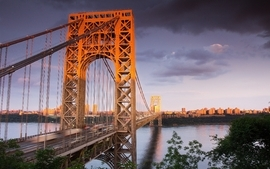 Clouds bridges new york city rivers skyscapes george washington wallpaper