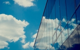 Clouds buildings skyscapes reflections wallpaper