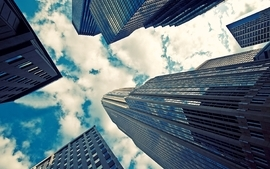 Clouds cityscapes buildings skyscrapers skyscapes wallpaper
