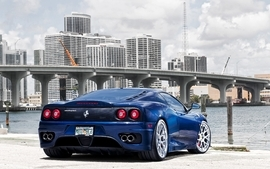 Clouds cityscapes cars day ferrari bridges buildings rivers wallpaper