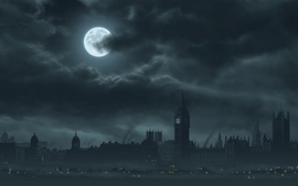 Clouds cityscapes dark night moon london big ben artwork wallpaper