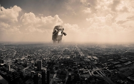 Clouds cityscapes monster domo wallpaper