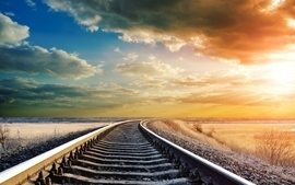 Clouds landscapes nature railroad tracks railroads skyscapes wallpaper
