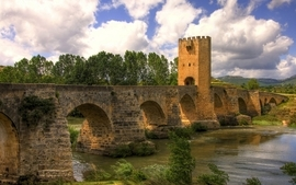 Clouds nature trees tower fields bridges europe medieval rivers wallpaper
