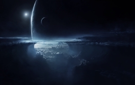 Clouds outer space planets fantasy art illumination contrasting wallpaper