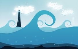 Clouds seas waves vector digital art wallpaper