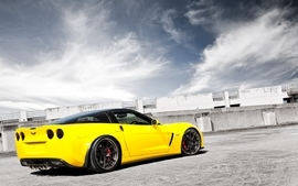 Clouds yellow cars vehicles supercars tuning chevrolet corvette wallpaper