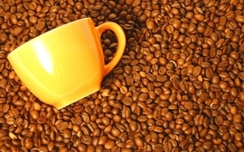 Coffee beans coffee cups 2 wallpaper