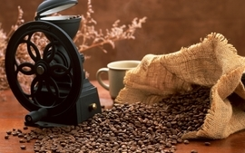 Coffee beans coffee cups wallpaper