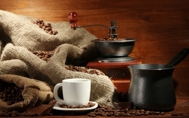 Coffee cups coffee beans wallpaper