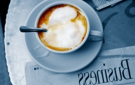 Coffee cups foam spoons business coffee cups newspapers wallpaper