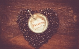 Coffee hearts wallpaper