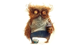 Coffee owls nikolay popov wallpaper