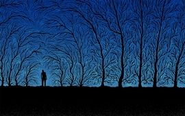 Creepy abstract trees night forest twilight silhouette shadows wallpaper