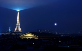 Eiffel tower paris cityscapes nighttime full moon wallpaper
